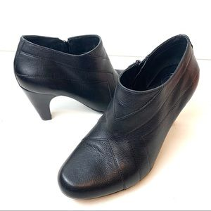 Nurture Womens Black Leather Bootie High Heel Shoe